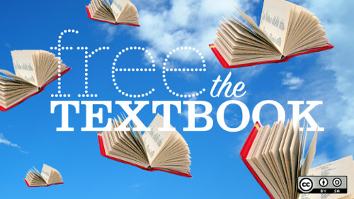 "Image of textbooks flying through the air with the title ""Free the Textbook"""