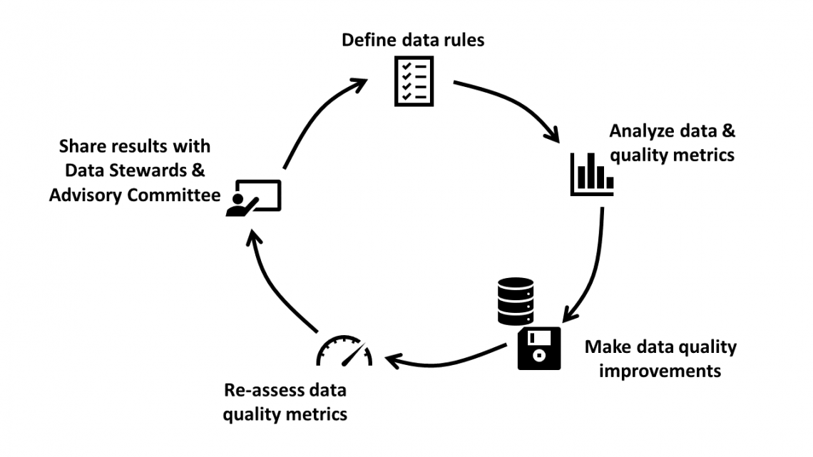 Steps for data quality cycle include (1) defining the data rules, (2) analyzing data and quality metrics, (3) making data quality improvements, (4) re-assessing data quality metrics and (5) sharing the results with data stewards and advisory committee.
